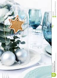 Black Blue And Silver Table Settings Blue Christmas Dinner Table Setting With Glass Dome Centerpiece
