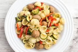 Vegetables by Pasta With Turkey Meatballs And Roasted Vegetables Recipe