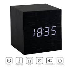 Unique Desk Clocks by Amazon Com Perrylee Wood Wooden Cube Digital Led Light Desk