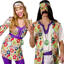 Flower Power Halloween Costume Mens Ladies Couple 60s 70s Groovy Hippy Flower Power Fancy