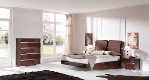 Modern Room Nuance Natural Modern Bedroom Furniture With Brown Wall Interior Design
