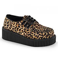 leopard print woven platform womens creeper gothic shoe