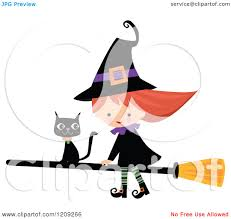 halloween cute clipart cartoon of a cute halloween witch riding a broomstick with a black