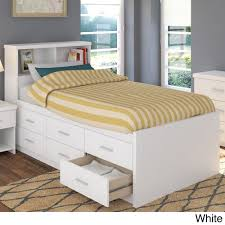 sonax 2 piece single twin captain u0027s storage bed set with bookcase