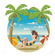 homme de dessin animé sur la belle plage tropicale avec l u0027océan