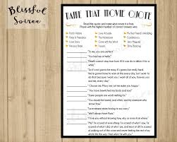 Kitchen Tea Game Ideas by Bridal Shower Game Name That Movie Love Quote Romantic