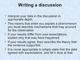 Writing the      Discussion and Analysis