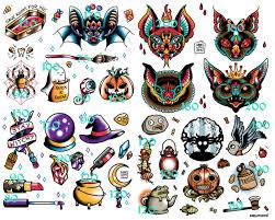 Halloween Quiz Printable by Halloween Tattoo Flash Sheets U2013 Fun For Halloween