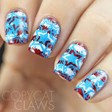 copycat claws 4th of july nail stamping