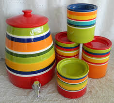 pier 1 imports summer stripes beverage crock u0026 4 piece canister