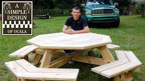 Building Plans For Picnic Table Bench by Build An Octagon Picnic Table Part 1 Youtube