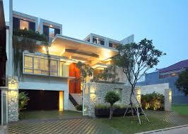 modern house design with garden