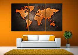 World Map Canvas by World Map Canvas Print 3 Panel Split Orange Black Color Art