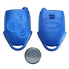 3 button blue remote key fob case with battery for ford transit