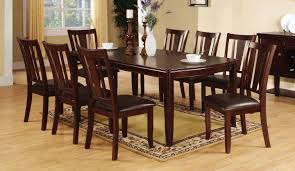 edgewood transitional design 9 piece dining set in espresso finish