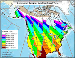 Canada On The Map by Map Of Sunrise Times In Usa And Canada On The Summer Solstice