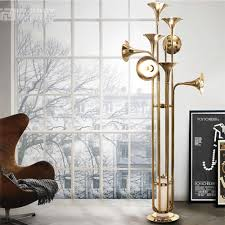 Tuba Design Furniture Restaurant Europea Modern Led Iron Trumpet Gold Hotel Restaurant Floor Lamp