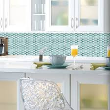 Blue Mosaic StickTiles Peel  Stick Backsplash RoomMates - Peel on backsplash