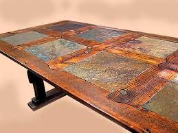Rustic Dining Table In Barnwood And Stone Tile Custom By Stephen - Barnwood kitchen table