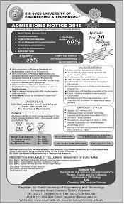 Notice      Sir Syed University of Engineering  Apptitude Admission All Newspaper Job Ads  Bank job in Pakistan