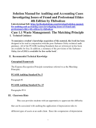 solution manual for auditing and accounting cases investigating