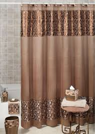 stall fabric shower curtains two support brown wooden storage