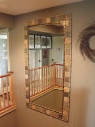 budget bathroom makeover a no grout tile mirror border easy