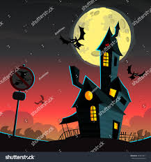 scary moon background scary house on night background full stock vector 324419411