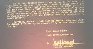 Trump was a nightmare landlord in the     s   a CNNMoney     Donald Trump eviction threat
