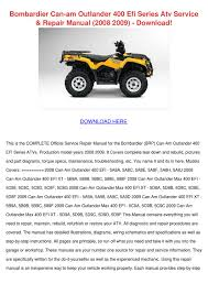 bombardier can am outlander 400 efi series at by judsonhawks issuu
