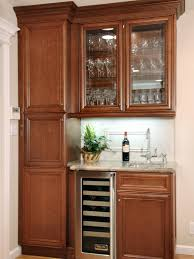 Glass Shelves Kitchen Cabinets Furniture Brown Polished Wooden Built In Small Kitchen Cabinet