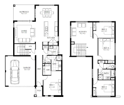 Simple 4 Bedroom House Plans by Interesting Double Story House Floor Plans 52 On Simple Design