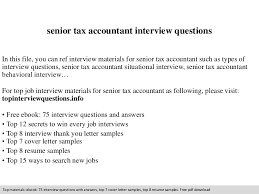 Tax Accountant Sample Resume by Senior Tax Accountant Interview Questions