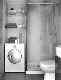 popular small space modern grey bathrooms with washing machine