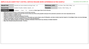 Sales Agent Pest Control Service Resume Career Cover Letter