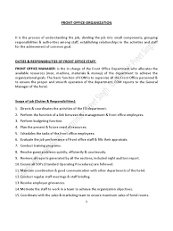Food And Beverage Supervisor Job Description Duties U0026 Responsibilities Of Front Office Staff Debits And