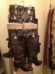 great way to organize your long boots in a small place did this