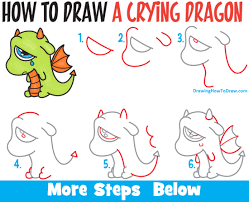 draw cute cartoon dragon crying easy step step drawing