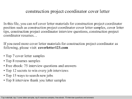 Construction Project Coordinator Resume Sample by Construction Project Coordinator Cover Letter