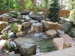 Lawn  Garden  Amazing Small Water Garden Feature Ideas Complete - Backyard river design