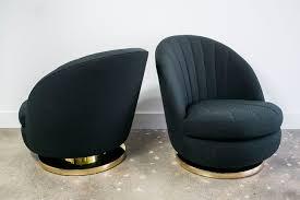 Club Swivel Chair Milo Baughman Brass Swivel Club Chairs With Black Upholstery