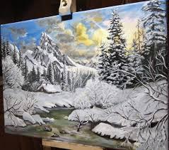 peinture de bord de mer peinture acrylique paysage de montagne en hiver youtube