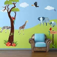 animal stencils for painting walls of kids room kids wall murals jungle safari wall decal sticker kit jumbo set