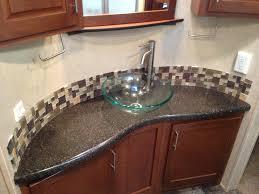 Bathroom Sink  Low Profile Vessel Sink Blue Bathroom Sink Glass - Black bathroom vanity with vessel sink