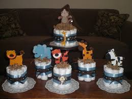 safari jungle and monkey diaper cakes baby shower centerpieces