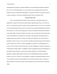 Essay sample   Review of the Separation of Powers Section of the Federalist Papers                    StudentShare