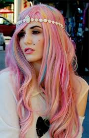 pastel pink, blue, orange hair