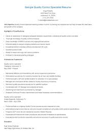 Quality Assurance And Quality Control Resume   Sales   Quality
