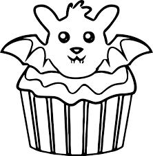 halloween bat cupcake coloring page wecoloringpage