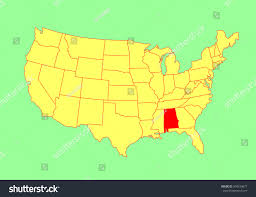 Untied States Map Alabama State Usa Vector Map Isolated Stock Vector 304534877